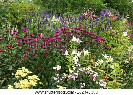 Colorful flower border in a formal garden. - stock photo