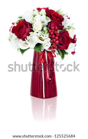 colorful flower bouquet arrangement centerpiece in red vase isolated on white background - stock photo