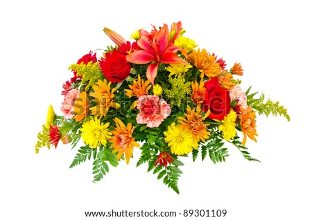 Colorful flower bouquet arrangement centerpiece isolated on white. - stock photo