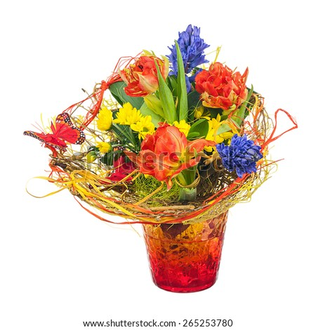 Colorful flower bouquet in red vase isolated on white background. Closeup. - stock photo