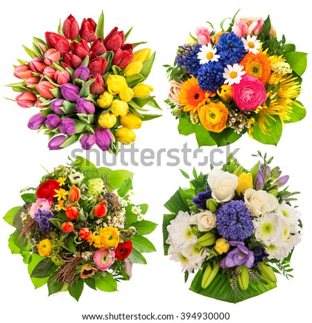 Colorful flower bouquets for Birthday, Wedding, Mothers Day, Easter. Top view - stock photo