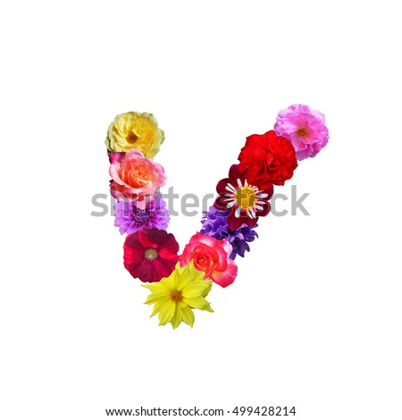 Letter v made of flowers stock images royalty free images colorful flower letter v altavistaventures Choice Image