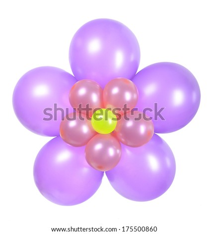 Colorful Flower made from balloons isolated on white background.