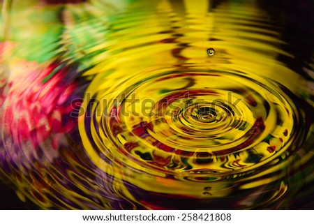 colorful flower of water reflection and water drop for background  - stock photo