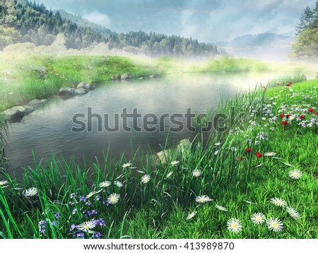 Colorful flowering meadow and foggy lake in the mountains. 3D illustration. - stock photo