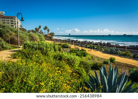 Colorful flowers and view of the fishing pier at Linda Lane Park, in San Clemente, California. - stock photo