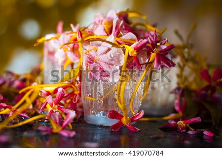 colorful flowers  & leaves on the wet shining surface.isolated, selective focus, shallow depth of field, concept of love and happiness. - stock photo