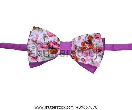 Colorful Flowers on Handmade Bow Tie Isolated On White Background.
