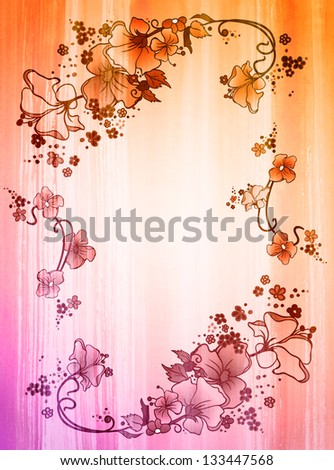 colorful flowers on watercolor paper - stock photo