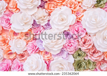 Colorful flowers paper background pattern - stock photo