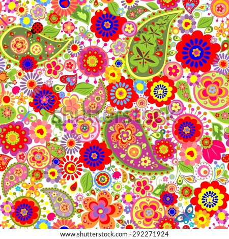Colorful flowers print with paisley and poppies - stock photo