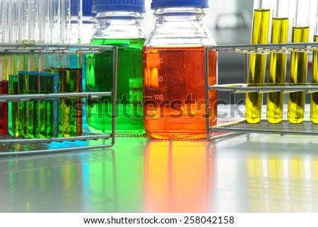 Colorful fluid in test tube for laboratory use on table in laboratory