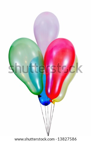 colorful, flying balloons on strings isolated on white background