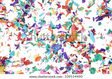 Colorful flying confetti