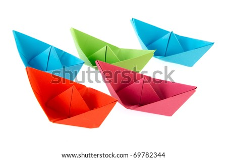 Colorful Folded Paper Boats Isolated Over Stock Photo Royalty Free