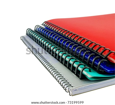 colorful  folders and notebook on white background