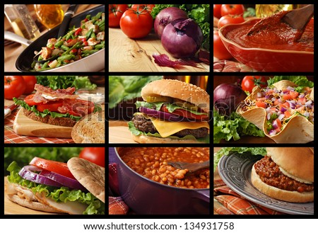 Colorful food collage includes veggie stir fry, cheeseburger, taco salad, blt sandwich, turkey sandwich, sloppy joe sandwich, baked beans, and freshly prepared pasta sauce. - stock photo