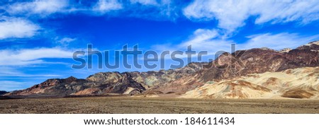 Colorful foothills alongside Death Valley, California.