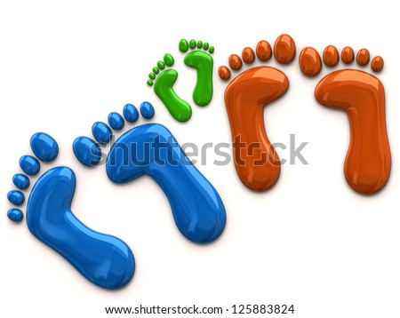 Colorful footprints of family - stock photo