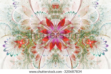 Colorful fractal floral pattern, digital artwork for creative graphic design