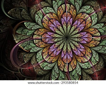 Colorful fractal flower, digital artwork for creative graphic design - stock photo