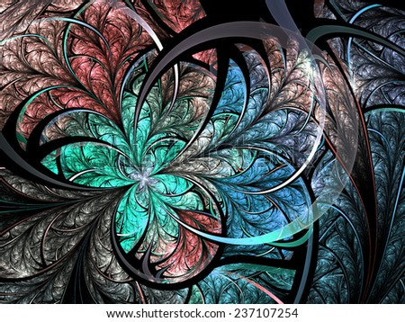 Colorful fractal flower or butterfly, digital artwork for creative graphic design - stock photo