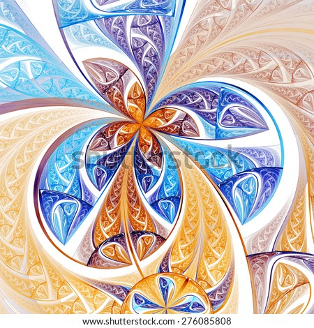 Colorful fractal flower or butterfly, digital artwork for creative graphic design