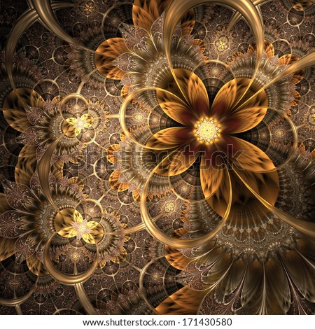 Colorful fractal flower pattern, digital artwork for creative graphic  - stock photo