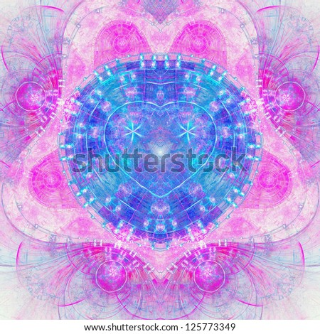 Colorful fractal heart, digital abstract design for valentine's day