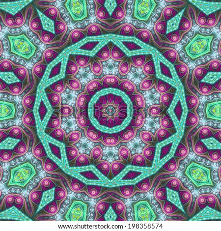 Colorful fractal mandala, digital artwork for creative graphic design - stock photo