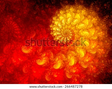 Colorful fractal spirals, golden ratio, computer generated abstract fractal background - stock photo