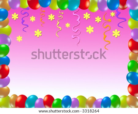 Colorful frame made of balloons and other decorations
