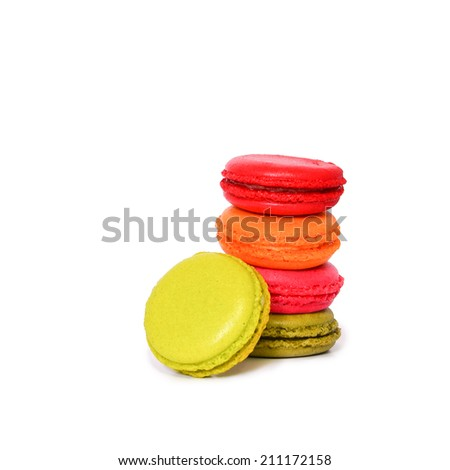 Colorful french macarons isolated on white background - stock photo