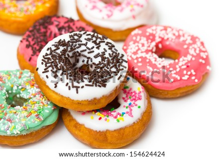 Colorful fresh doughnuts  - stock photo