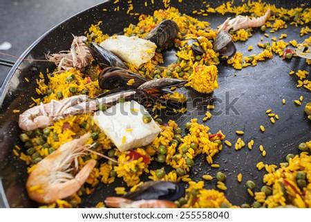 Colorful fresh paella  - stock photo