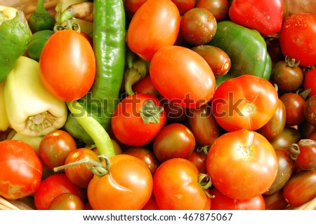 colorful fresh tomatoes and peppers