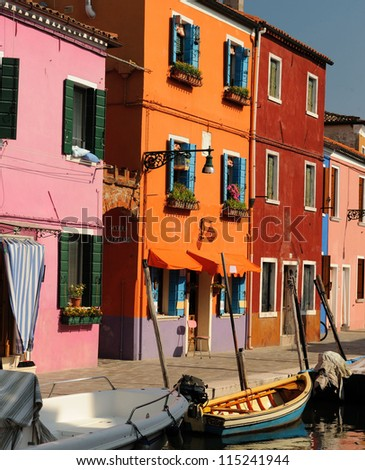 colorful front door to the house on venetian island Burano, Veneto, Italy, Europe