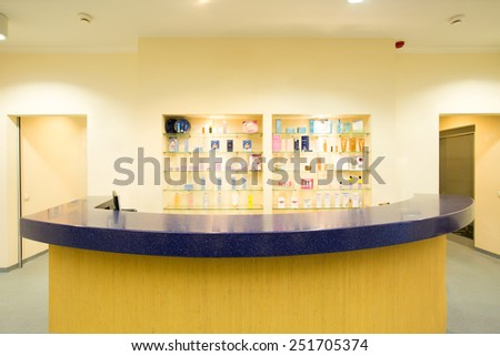 Colorful front office at luxury spa resort - stock photo