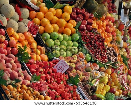 colorful fruit and vegetable stand