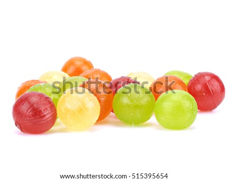 Colorful fruit candies on a white background