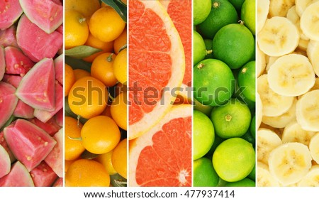 Colorful fruit collage, fresh summer fruits in form
