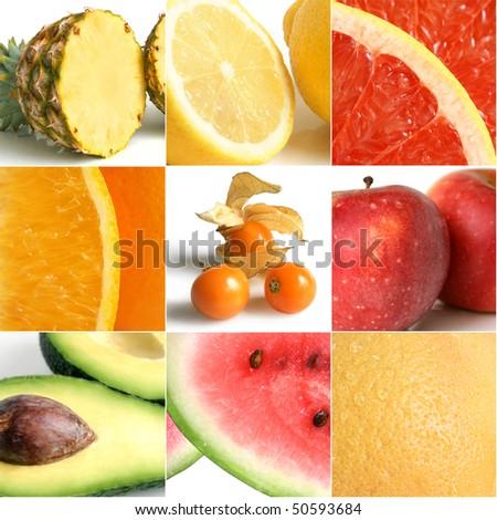 Colorful fruit collage of nine photographs - stock photo