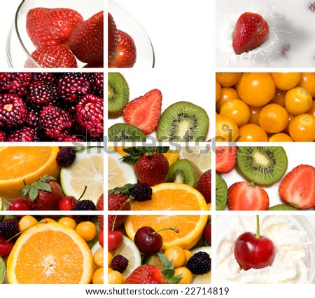 colorful fruit composition out of many images