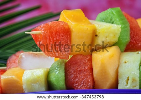 Colorful fruit skewers