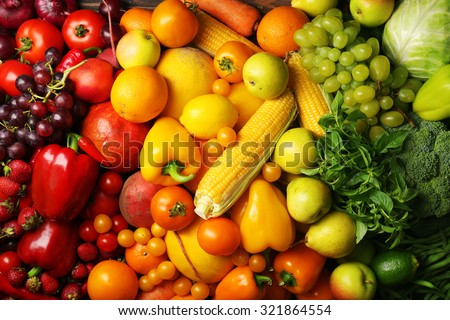Colorful fruits and vegetables background - stock photo