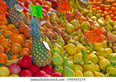 Colorful fruits and vegetables from organic agriculture exhibited in a italian market