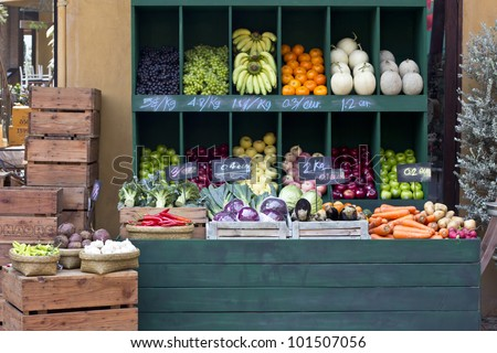Colorful fruits and vegetables on market stand