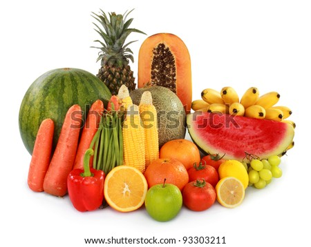 Colorful Fruits and vegetables over white background