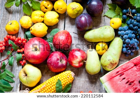 Colorful fruits on a wooden table