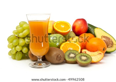 colorful fruits with juice on white